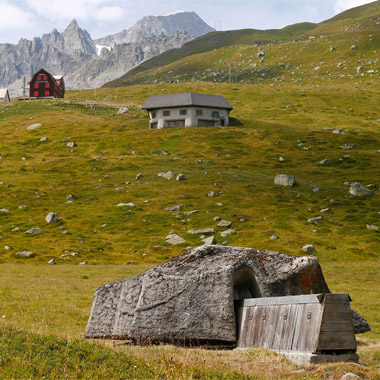 A machine-gun bunker, part of a former Swiss artillery fortress called Fuchsegg, is camouflaged as a stable, beside the Furka mountain-pass road near the village of Realp. Built in 1943, the fortress remained in military use until 1993. © Arnd Wiegmann / Reuters